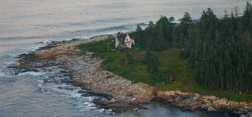 Great Duck Island House | Aerial view of house and shoreline