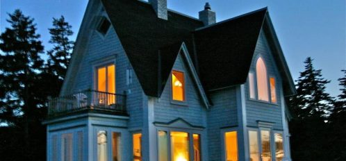 Great Duck Island House | Exterior at Night