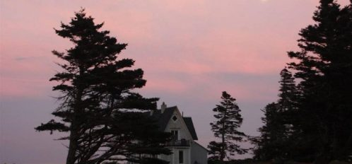 Great Duck Island House | Exterior at Sunset