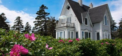 Great Duck Island House with pink flowers