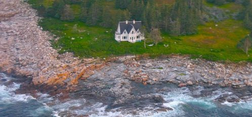 Great Duck Island House | Aerial shot of the house on the shoreline