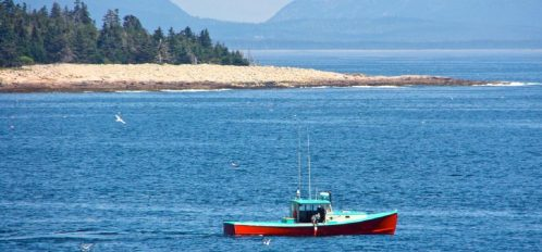Great Duck Island House | Fishing boat off the shore